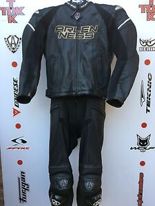 Arlen Ness Mag Two Piece race leathers with hump uk 44 jacket 32 waist jeans