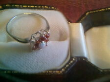 Vintage Solid Silver & Ruby & Opal Inset Ladies Cocktail Ring - HM Birm.1962