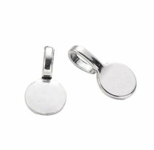 20pcs Tibetan Alloy Glue-on Pendant Bails Smooth Round Charm Holder Silver 18mm