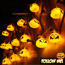 Pumpkin 16 LED String Lights Halloween Home Decoration Party Indoor Light 9 ft