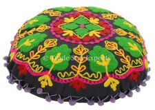 """Indian Suzani Round Cushion Cover 16"""" Embroidered Home Decor Throw Pillow Cover"""