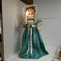 "VTG TELCO 24"" MOTIONETTE Animated VICTORIAN Blonde Girl CHRISTMAS Lighted Candle"