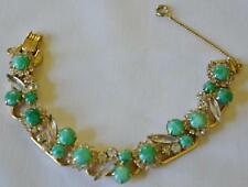 EXQUISITE! JULIANA Faux Jade Cabochons Clear Navettes & Rhinestone Bracelet!