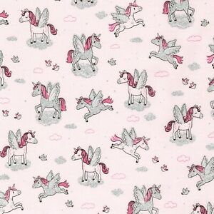 Animal Fabric - Glitter Unicorn on Pink - Timeless Treasures YARD