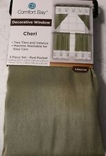 Comfort Bay Decorative Window Curtain Cheri 3 Piece Set - Rod Pocket
