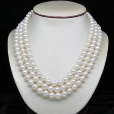 "AAA Natural 3-Strand 7-8MM AAA White Pearl Necklaces (16""17""18"" )"