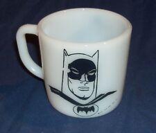 Vintage 1966 BATMAN White Milk Glass Coffee Mug Cup Westfield Heat Proof Nice