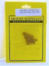 """Model Shipways Fittings MS 0303 Sngl Walnut Blocks 5/32"""" (4MM). 20 Per Pack."""
