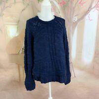M. Patmos Women's Cozy Navy Cable Knit Sweater Size Medium