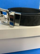 NWT Michael Kors Women's MK Logo Tone Belt Reversible Black Silver Size XL