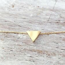 Charm Triangle necklace Gold necklace Triangle Geometric Pendant size 17