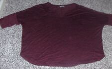 EUC WARP linen burgundy top,designed in London,unique 3/4 sleeve Sz 14