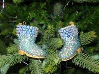 (2) Vintage FINISHED Walco Christmas Ornaments - Santa's Boot 1972 ROYAL BLUE
