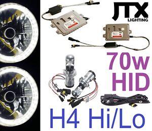 "WHITE 7"" Round LED Ring Halo Angel Eye Headlights & Premium 70w H4 Hi/Lo HID Kit"