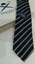 HACKETT Silk Tie - Made in England GENUINE Classic Mini track Navy/White