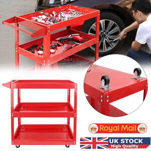 Tool Storage Trolley Durable 3 Tier Wheel Cart Shelf Garage Workshop Heavy Duty