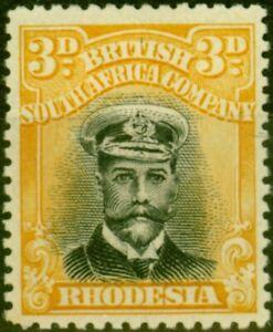 Rhodesia 1918 3d Black & Yellow SG259 Fine Mtd Mint