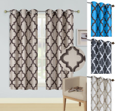"2pc WINDOW CURTAIN BLACKOUT LIGHT BLOCKING GROMMET PANEL MOROCCAN PRINT 36""L"