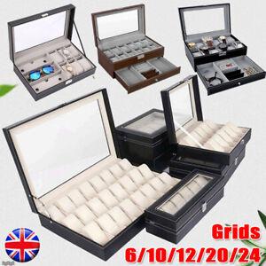 6/10/12/20/24 Grid Watch Box Leather Display Glass Jewelry Holder Storage Case