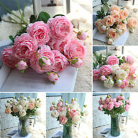 Artificial Fake Western Rose Flower Peony Bridal Bouquet Wedding Home Decor CH