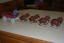 Vintage Cast Iron Wagon w/ 8 Clydesdales Horse (Budweiser Beer)