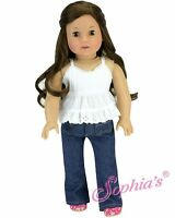 """Doll Clothes 18"""" Jeans Dark Blue White Eyelet Tank Top Fits American Girl Doll"""