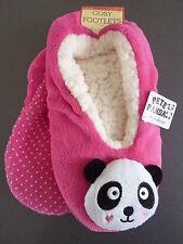 Damen Hausschuhe Pink Panda Bär Fleece Tier Pantoffel Stopper Socken 39-42 Neu