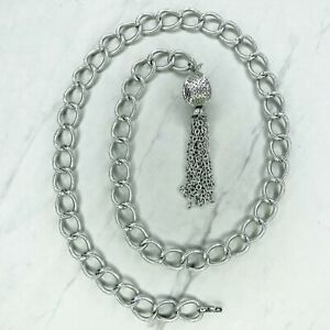 """Silver Tone Chunky Tassel Charm Belly Body Chain Link Belt One Size OS 36"""""""