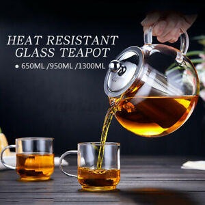 20-45 Ounce Heat Resistant Glass Teapot 304 Steel Infuser Lid Coffee Tea Herbal