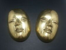 Vtg Solid Brass 2 Masks Wall Mount Home Decor Heavy 5.75' x 4'