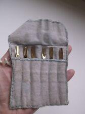Vintage H'Orderve Fork Set of 6 Gold Tone Finish Tiny Forks