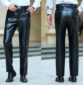 Men PU Leather Pants trousers Premium Plain Leather Black Motorcycle Biker Jeans