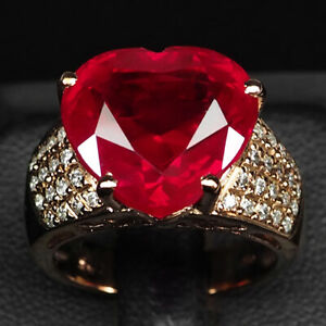 RUBY BLOOD RED HEART 14.80 CT. SAPPHIRE 925 STERLING SILVER ROSE GOLD RING SZ 7