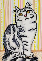 British Longhair ACEO Art Card Print by Artist KSams Cat Collectible 2.5 x 3.5