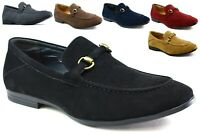 Mens New Smart Office Casual Formal Slip On Faux Suede Front Buckle Shoes UK