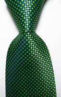 New Classic Checks Green Black JACQUARD WOVEN Silk Men's Tie Necktie