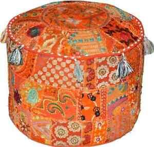 Vintage Orange Ottoman Pouf Cover Floor Decorate Handmade Cotton Blend Footstool