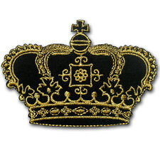 Gold Crown Patch Iron on Badge Sew Beautiful Imperial Cute Kids Pretty Biker MC