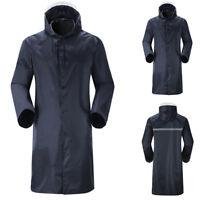 Men's Waterproof Raincoat Lightweight Casual Hooded Rain Coat Long Jacket Coat