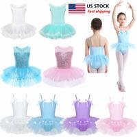 US Kids Girls Ballet Leotard Skirt Tutu Dress Gymnastics Ballerina Dance Costume