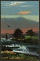 Japan. The End of the Day - Vintage Stylised Hand Painted Art Colour Postcard