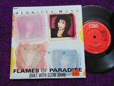 """JENNIFER RUSH with ELTON JOHN """"Flames of Paradise"""" UK VINYL 7""""   CBS 650865 7"""