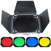 Godox Barn Door Honeycomb Grid with 4 Color Gel Filter Studio Standard Reflector