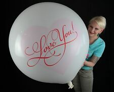 "1 x CATTEX 35"" Riesenluftballon LOVE YOU *PINK/RED* LIEBE * VALENTINSTAG"