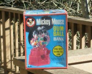 1968 Walt Disney Mickey Mouse Club Hasbro Gumball Dispenser Bank Machine Sealed