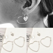 2Pairs Heart Women Jewelry Big Hoop Earrings Hip-Hop Silver Dangle Ear Studs New