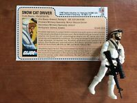 G.I. Joe 1985 FROSTBITE Snow Cat Driver Figure Complete w Red Back File Card