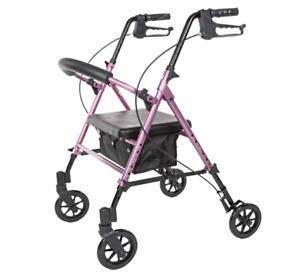 Carex Step 'N Rest Aluminum Rolling Walker For Seniors Pink - Rollator Walker...