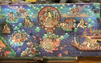 HAND PAINTED THANKHA FROM TIBET LARGE 35IN.X 18IN ON SILK PAPER BACKING