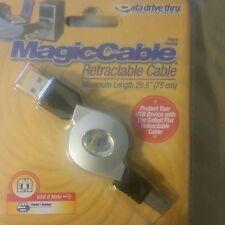 "Magic cable retractable 29.5"" 75cm USB 2.0 TO USB B printer cable"